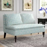 A traditional living room stable gets a contemporary update in this Hofmann Loveseat! Founded on a solid wood frame, this loveseat strikes an armless settee-style silhouette with a full back, a wide seat, and ebony turned legs. Enveloped in linen-blend upholstery, this loveseat showcases a contemporary graphic print in aqua blue over cream, while web suspension and foam-filled cushions provide added comfort and support. Measuring 33