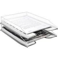 Dress your desk with a file tray organizer that stores your documents in a neat organized manner. Bring a modern twist to even the most mundane tasks! Accent your work-space with this Acrylic Desk Organizer. It features a sleek acrylic aesthetic to quickly access your contents with a clear view. The attractive 2-level design is perfect for holding files, magazines, books, mail and other office supplies. As an alternative to cluttered drawers, this smartly designed unit adds space virtually...