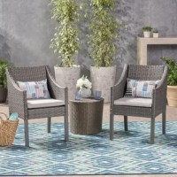 Enjoy the outdoors this year with this Outdoor 3 Piece Rattan 2 Person Seating Group with Cushions and relax in style. Constructed with sturdy wicker, iron, and water resistant cushions, these items are built to endure all seasons. Great for savoring the sun poolside or intimate conversation over a glass of wine, this set will help create memories for years to come.