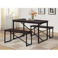 Complete with one compact table and two backless benches, this 3-piece dining set is an ideal option for cozy eat-in kitchens and dining rooms that are short on square footage. Crafted with a metal frame that's finished in black, each budget-friendly piece features a manufactured wood top or seat that's finished in a neutral stain for a hint of warmth. X-shaped supports offer a nod to traditional designs. Assembly is required.