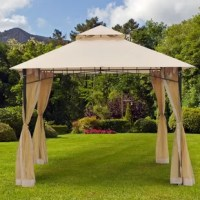 Complete the look of your backyard space while staying cool and collected with the outsunny 10' x 10' steel outdoor garden gazebo with mosquito netting. The zippered woven mesh netting attaches easily to the top of the gazebo frame with material fasteners. The breathable and water-resistant canopy top helps protect against the elements and a powder-coated steel frame ensures long-lasting use. During the summer, when the days are nicest but the bugs are most persistent, simply close the...