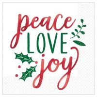 Spread some holiday cheer when you set your table with this lunch napkin. Each napkin features the message