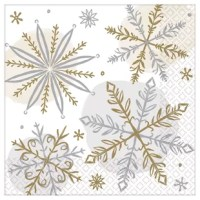 Let it snow, let it snow, let it snow! Turn your table into a shiny winter wonderland with this shining beverage napkin. Each napkin features a unique silver and gold snowflake pattern. This disposable napkin will help keep your table clean and your spirits merry and bright.