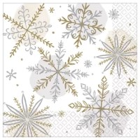 Let it snow, let it snow, let it snow! Turn your table into a shiny winter wonderland with this napkin. Each napkin features a unique silver and gold snowflake pattern. This disposable napkin will help keep your table clean and your spirits merry and bright.