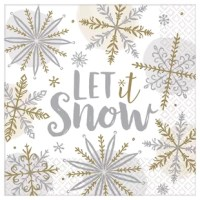 Let it snow, let it snow, let it snow! Turn your table into a shiny winter wonderland with this napkin! Each napkin features a unique snowflake print and a