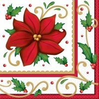 Let it bloom, let it bloom, let it bloom. Christmas isn't just a time of barren snowfields, it's also a time of beautiful poinsettias and the napkin. Each napkin features a fully bloomed poinsettia, boughs of holly, a golden scroll, and a red and gold striped border. The disposable napkin will help keep your table clean and your spirits merry and bright.