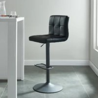 Stylish contemporary design for this stool. Fashionable waffle design seat and back add flair. Its gas lift handle allows you to adjust from counter to bar height easily. 360-Degree swivel seat made in faux black leather with charcoal matte gray footrest and base.