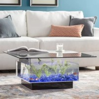 Fish are friends — not food. And what better way to demonstrate that than welcoming them into the heart of your home? This is the perfect pick for contemporary homes that are in need of a more out-of-the-ordinary piece of furniture. Its freshwater aquarium tank base is crafted from UV-resistant acrylic, and topped off with a sleek, removable glass top. Its tank holds 25 gallons of your favorite type of freshwater fish.