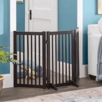 Keep your pet safe and sound with this freestanding pet gate. Place it at the entrance of your living room, kitchen, den, or any room you want Fido to play in. Crafted from wood, it features three lightweight panels that can be easily folded and put away when not in use. This freestanding piece uses two support legs with floor pads and rubber gate pads, to protect your floors from scratches. It measures 30'' H x 54'' W x 0.8'' D.