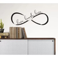 A lively take on the infinity symbol, this trendy wall quote reads, Live, Laugh, Love. Its hand painted, black design adds to its carefree style. Infinity Wall Quote Decals contains 3 pieces on 2 sheets that measure 17.25 x 9.75 inches.