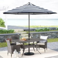 Evoking the styles of vacation destinations from Miami to the French Riviera, this fashionably striped market umbrella brings style to your outdoor ensemble. Made from a 9' UV-resistant polyester shade, it's mounted atop a brown powder-coated aluminum pole that features a handy tilting mechanism, perfect to shield you from the sun at all angles. Place it on a stand (not included) or in your favorite patio table for a sweet spot of shade.