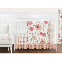 The Watercolor Floral 11 Piece Crib Bedding Set has all that your little bundle of joy will need. Let the little one in your home settle down to sleep in this incredible nursery set. This baby girl bedding set features a hand-painted watercolor floral print, a mini gold polka dot, and solid peach fabrics. The design uses brushed microfiber fabrics that are machine washable for easy care. This wonderful set will fit most standard cribs and toddler beds.