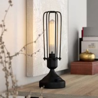 Space-conscious and lightweight, while still delivering on-trend style and illumination, it's hard not to fall in love with table lamps. Take this one for example: perfect for an industrial twist on the torchiere, this lamp features a charcoal gray or black/burnished brass metal base with a wire cage shade. This piece includes a tall, vintage-style 60 W bulb for a touch of yesteryear's character in any ensemble. This luminary measures 13'' H x 4.5'' W x 4.5'' D, making it a great option for a...