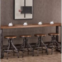 This trend-right casual contemporary mixed media Adjustable Height Swivel Bar Stool is both rustic and modern at the same time. The combination of materials, like the poplar veneer wood top, black hand distressed metal finish and the extra thick metal tube base has an industrial appeal that will look great in any setting.