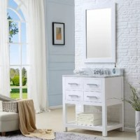 Anchor your bathroom in a clean-lined contemporary style with this single vanity set. Crafted of 100% solid poplar wood, the vanity base strikes an open rectangular silhouette with gleaming chrome hardware and recessed paneling. A lower linen rack shelf is perfect for folded towels and facecloths, while two soft-close drawers offer out-of-sight storage for toiletries and bathroom supplies, and two upper false drawers offer a cohesive appearance. A Carrara white marble countertop with three...