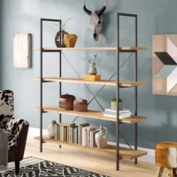 Display your cherished collections and favorite photos proudly and boldly with our impressive etagere bookcase. Featuring an industrial design, our lovely bookcase uses a metal frame for an exposed yet sleek look. The metal also creates a highly durable structure that is fortified with an X-frame stretcher to ensure the best stability for your home. Finished with rich firwood, this piece offers four delightful shelves that provide ample space for display and organization, allowing you to easily...