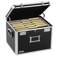 This sturdy, locking file chest has built-in metal rails to accommodate either legal or letter-size hanging file folders, providing a safe and attractive place to store files.