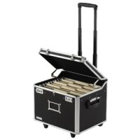 Highly mobile, with wheels and telescoping handle, this high-capacity locking chest is a safe and attractive place to store and transport letter or legal-size hanging files.