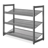 Steel Mesh 3-Tier Shoe Rack is made with a durable all-metal frame that is easy to assemble. It fits under most hanging clothes and is perfect in your home, office or dorm room. This shoe rack can accommodate both men's and women's shoes, from loafers and boots to heels and flip-flops. Easy assembly with tools included durable all-metal construction. Consider a larger option if you're looking to store large shoes (Men's Size 13 or over). Check out the You Might Also Need section for an...