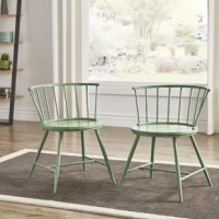 Looking for a spare seat in the reading nook or the kitchen? Round out a little-used corner or bring vintage style to an eating arrangement with this set of two dining chairs. Crafted from metal and wood, they sport a low-slung slat back for a touch of traditional appeal and splayed legs for a dash of mid-century modern influence.