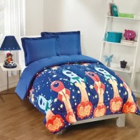 This outer space print will evoke dreams of discovery in all future astronauts. The wrinkle-resistant set features bright colored rockets launching on a starry night. This Blast Off Reversible Comforter Set is made from brushed microfiber for exceptional softness and a lofty fiberfill for extra comfort. The comforter reverses to a solid blue for more style options.