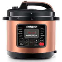 This pressure cooker comes with a measuring cup, spoon, Stainless Steel steam rack, and a basket. There are 12 presets to help make cooking easier. Include a special release pressure button and a detachable cord to make storage easier.