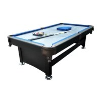 Add this pool table to your home game room for hours of family fun. Features a luxe design with a slate base to play on. Leather french-style drop pockets. Table legs have metal levelers.