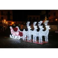 This stunning commercial grade reindeer and sleigh is sure to be a gorgeous addition to your outdoor Christmas decorations! With it's iron frame and LED lights this larger than life decoration is sure to impress for years to come!  Product Features: Includes 4 deer and 1 sleigh Pre-lit with commercial grade pure white LED rope lights 36 LED lights/3.25 feet Sleigh comes decorated with PVC tinsel