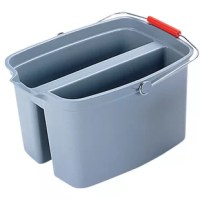 19 quantity double bucket with its dual-basin system, allows for easy separation of cleaning solution and rinse water. The bucket includes a pour spout as well as English and metric measurement levels for your convenience.