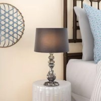 Timeworn and timelessly stylish, this stunning table lamp will shine a light on your home and your impeccable taste in decor. The weathered finish of the turned ceramic base makes a bold statement and the rich fabric shade is the perfect finishing touch.