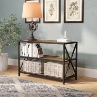 Whether housing supplies in the study or serving as a console table in the entryway, this versatile etagere bookcase brings both fashion and function to any space. Crafted from metal, its open frame features a powder-coated finish and x-shaped accents for a hint of farmhouse flair. Three manufactured wood tiers provide a place for potted plants, baskets, books, and beyond this low-profile piece is a fine fit for smaller spaces.