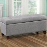 Versatile in both function and design, this clean-lined storage bench features a button-tufted top that lifts to reveal a convenient compartment to tuck away blankets, board games, and beyond. Crafted with a solid acacia wood frame, this piece measures 17.71'' H x 38.98'' W x 16.53'' D overall and supports up to 440 lbs., making it perfectly proportioned to offer seating for two. Neutral linen upholstery envelops the bench for an understated look, while cylindrical feet below sport a natural...