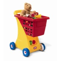 Pretend shopping is really learning through role-play. This durable shopping cart includes a large basket to hold play food, groceries, and other important items that make up the imaginary shopping list. The special wheels won't scuff floors and can be used indoors or out. A favorite doll or special toy can ride along in the fold-down seat. (Accessories not included.)