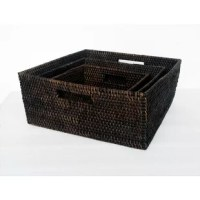 These rattan square baskets are great for storing things neatly. The rattan is hand-woven and comes in a set of 3 sizes. Use them in the kitchen, bedroom or living room, or even to keep your hand towels neatly in the washroom.
