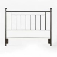 Add simple, elegant and contemporary style to your bedroom with the Magdalen Queen Slat Headboard. Sturdy and durable, this metal headboard features intricate detailing and easily blends in with any existing decor. With a rich finish, the Magdalen boasts straight spindles and decorative finials that add to its relaxing and casual elegance. Designed to fit both a queen and full-size bed frame with an adjustable height, this headboard offers ornate metal scrollwork that compliments the finish...