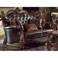 This sofa set will create you an elegant, warm and traditional taste in your living room. It reflects a highly decorative base with scrolled feet, and the upholstered seats with the deep button tufted and nail head trim accents add classic character and represent luxurious detailing.