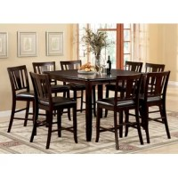 A dark espresso finish and leatherette seating make this transitional Counter Height Extendable Dining Table an attractive addition to any home. The square table seats eight comfortably.