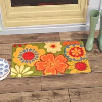 Does your entryway look like its missing something? Try adding a new doormat to bring your front door area to life. This rectangular doormat can be used indoors, as well as outdoors. It is weather resistant and is made of natural coir fibers in a colorful floral design. We recommend cleaning this handwoven doormat by shaking out any dirt, or sweeping. This patterned doormat measures 18'' W x 30'' L.
