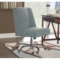 Made to move, this versatile office chair lets you swivel, slide, and sit up higher as you tackle your to-do list. Founded atop a pedestal base with caster wheels, this adjustable seat is crafted with a wooden frame. Silver-finished nailhead trim surrounds the square seat for a decorative touch, while subtly winged sides round out the look with another dash of distinction. Assembly is required.