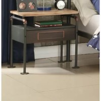 This nightstand combines a vintage look with an industrial design, features antique wooden top, sandy metal construction, 1 drawer and 1 open storage compartment. This piece with casual detail making is the perfect addition to your bedroom décor.