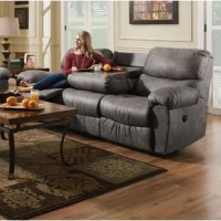 This reclining sofa with drop down center table lets you kick up your feet in style. The plush fabric and overstuffed design make this the perfect sofa for lounging. The sinuous spring system and hi-density foam seat cores have a Dacron polyester wrap to provide longer life.