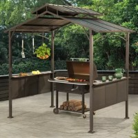 Kick back and enjoy your time grilling in the backyard even more with this grill gazebo by the world's leading ready-to-assemble outdoor structure maker, Sunjoy. This grill gazebo is designed to protect your grill from nature's toughest elements. The 8 ft. x 5 ft. rust-resistant powder-coated steel structure not only shelters your grill, but it also keeps you dry and cool any time you're cooking. No more standing in the rain while you flip burgers. The 2-tier roof helps ventilate smoke....