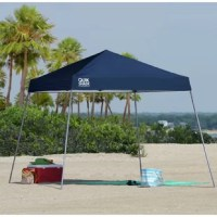 The 10 x 10 ft. slant leg Expedition canopy from Quik Shade provides up to 64 sq. ft. of shade. The perfect canopy for your next outdoor event, this unit offers three height positions and hardened thru-bolt assembly for a sturdy canopy unit. Patented overlapping eaves offer stability and the 150D polyester top with Aluminex gives you 99% UV protection. Set it up where you need shade at your next event, farmers market, sports event, and much more.