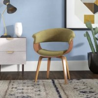 Lend any seating arrangement with a polished hand and spare seat, with this accent chair. Perfectly at home in contemporary aesthetics, the frame of this piece is crafted from manufactured wood, and upholstered with a polyester blend in a solid hue. It features a tight back and flared arms.
