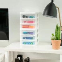 Compact and convenient, these 3 drawer desktop units make the most of the lack of desk space. Squeeze the mini drawer unit into open space, or create a row of them for even more storage. The sturdy plastic makes these plastic drawers durable, and the smooth glide drawers give you easy access to contents. The flat top is perfect for storing additional supplies or displaying small pictures. The 3 drawer shelf is also great for everything from accessories, to tool pieces, to small bathroom...