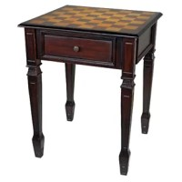 Checkmate! Position this authentic hardwood game table between two chairs for a casual romp through the game of kings. With a walnut-hued finish and a hand-painted tabletop, this functional work of furniture art rises on tapered Hepplewhite legs to boasts a single drawer with metal pull to hold your chess pieces or checkers. Created exclusively for Design Toscano, this heirloom piece will make cherished family memories!