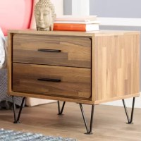Defined by its low profile and minimalist design, this clean-lined nightstand brings a bit of mid-century flair to your bedroom. Founded atop four metal hairpin legs, this budget-friendly piece is made from manufactured wood and particleboard in a neutral finish that's versatile enough to complement most color palettes. Two drawers provide a place for books, vitamins, and other bedside essentials. Measuring just 18'' H x 20'' W x 16'' D, this compact design is an ideal option for a smaller...