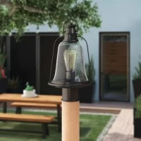 When it comes to brightening up the night, post lamps are great options for lending your outdoor ensemble a flexible touch, as they can be mounted wherever you need them most. Take this one, for example: crafted from an oil-rubbed bronze-finished base with a seeded glass shade, it evokes yesteryear's lanterns for an industrial touch in your outdoor ensemble.
