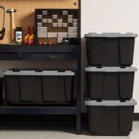 Take toughness to another level. This heavy duty Utility 4 Pieces 104qts. Plastic Storage Tote made of durable plastic helps keep contents safe and secure. Plastic tote offers ample storage space inside. Uniquely designed lock holes in the lid and rim make it easy to secure the lid in place with a padlock or with a bungee cord, letting you add an extra level of safety to your plastic storage unit. The grooves in the lid make it easy to secure straps or bungee cords, letting you quickly secure...