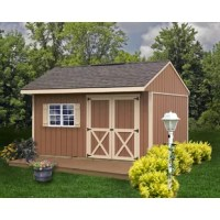 The Northwood storage shed kit is a great DIY project for any backyard. Featuring a wide overhang over doors and loft space for extra storage. Doors are a generous 5' 4